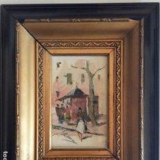 Arte: JOAQUIN ASENSIO MARINE-BARCELONA 1890 - 1961 RAMBLAS DE BARCELONA,OLEO S/CARTULINA MED. DE ELLA 12X7. Lote 75642055