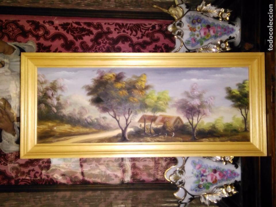 cuadro pintado al oleo paisaje enmarcado marco - Comprar Pintura al ...