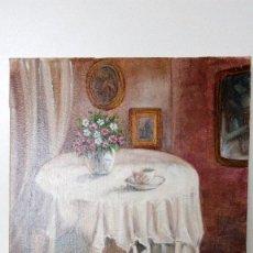 Arte: PINTURA AL OLEO MESA DE CAMILLA CON FLORERO PINTADO SOBRE LIENZO DE DE 27 CM X 22 CM. Lote 75774159