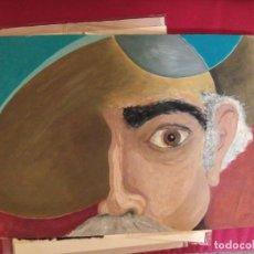 Arte: DON QUIJOTE TIPO ALA TRISTE - OBRA ORIGINAL ESCUELA DE ARTE - ACRILICO MIDE 50X35. Lote 75807671