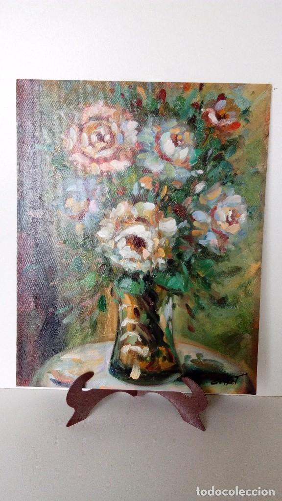 PINTURA AL OLEO SOBRE TABLA, FLORERO SOBRE MESA PINTOR GOLLET MEDIDAS 25 X 20 CM (Arte - Pintura - Pintura al Óleo Moderna sin fecha definida)