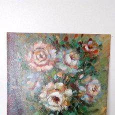 Art - PINTURA AL OLEO SOBRE TABLA, FLORERO SOBRE MESA PINTOR GOLLET MEDIDAS 25 x 20 Cm - 75818991