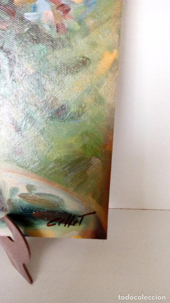 Arte: PINTURA AL OLEO SOBRE TABLA, FLORERO SOBRE MESA PINTOR GOLLET MEDIDAS 25 x 20 Cm - Foto 2 - 75818991