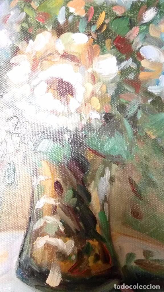 Arte: PINTURA AL OLEO SOBRE TABLA, FLORERO SOBRE MESA PINTOR GOLLET MEDIDAS 25 x 20 Cm - Foto 4 - 75818991