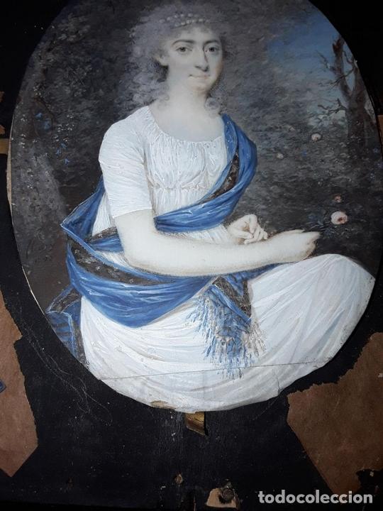Arte: RETRATO DE MADAME MALOU. ÓLEO. MINIATURA. ANTOINE FLEURY. FRANCIA. XVIII-XIX - Foto 8 - 75966319
