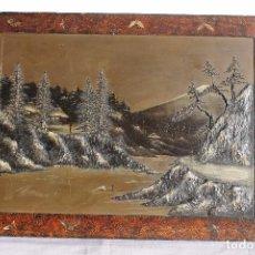 Arte: TABLA JAPONESA EN RELIEVE LACADA Y PINTADA. Lote 76017799