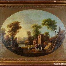 Arte: PAISAJE CON PASTORES. ÓLEO SOBRE LIENZO. ESCUELA ITALIANA. ANONIMO. SIGLO XIX. . Lote 76080679