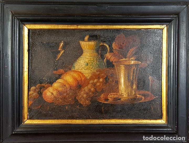 BODEGON. ÓLEO SOBRE TABLA. ANONIMO. RESTOS DE INCENDIO. SIGLO XVIII-XIX. (Arte - Pintura - Pintura al Óleo Antigua siglo XVIII)