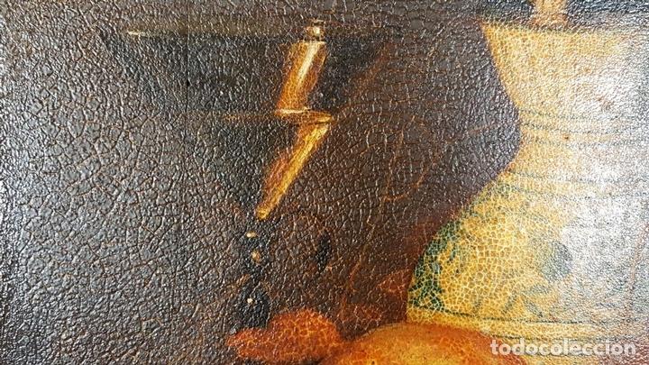Arte: BODEGON. ÓLEO SOBRE TABLA. ANONIMO. RESTOS DE INCENDIO. SIGLO XVIII-XIX. - Foto 3 - 76118547