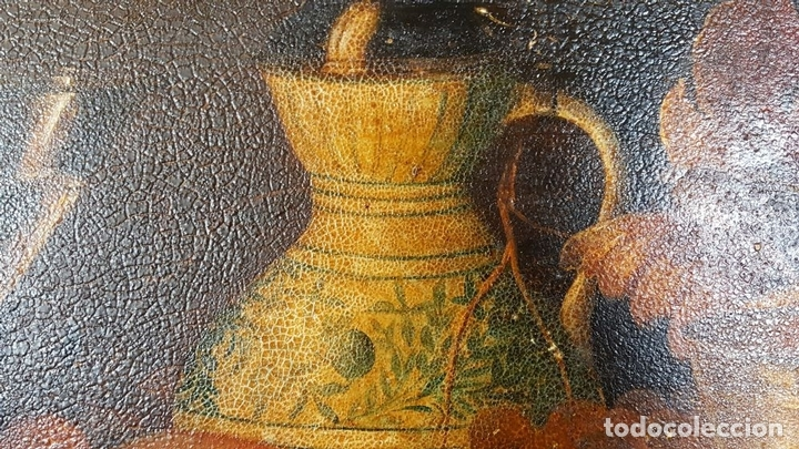 Arte: BODEGON. ÓLEO SOBRE TABLA. ANONIMO. RESTOS DE INCENDIO. SIGLO XVIII-XIX. - Foto 5 - 76118547