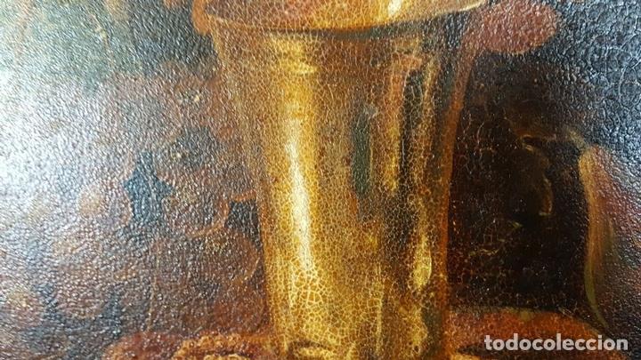 Arte: BODEGON. ÓLEO SOBRE TABLA. ANONIMO. RESTOS DE INCENDIO. SIGLO XVIII-XIX. - Foto 8 - 76118547