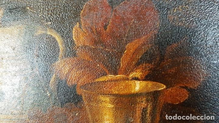 Arte: BODEGON. ÓLEO SOBRE TABLA. ANONIMO. RESTOS DE INCENDIO. SIGLO XVIII-XIX. - Foto 9 - 76118547
