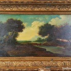 Arte: PAISAJE CON LAGO. ÓLEO SOBRE TABLA. ANONIMO. ESCUELA ITALIANA. SIGLO XVII-XVIII. . Lote 76204675