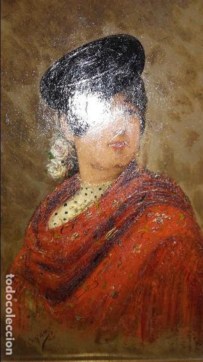 Arte: CUADRO OLEO SOBRE TABLA FDO. GAYAN (MALAGA) MUY ANTIGUO POSIBLE SIGLO XIX REF.192 - Foto 4 - 76470439