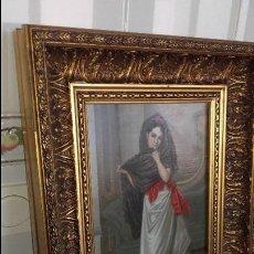 Arte: CUADRO OLEO SOBRE TABLA MAJA CON MANTILLA FIRMADO FRANCISCO RODRIGUEZ DE MALAGA ANTIGUO. Lote 76487799