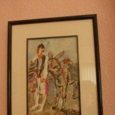 Arte: HUERTANO CON BURRO, DEL PINTOR MURCIANO BLAS ROSIQUE GAYA. Lote 76629711