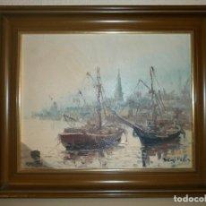 Arte: BARCOS - OLEO SOBRE TABLEX FIRMADO SEGRELLES MEDIDA MARCO 38 X 32 CM. TABLA 30 X 24 CM. . Lote 76759087