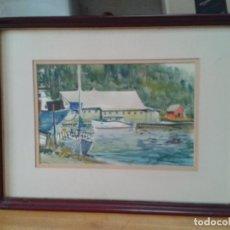Arte: ACUARELA F. HARMAN 77. PUERTO CON BARCAS.. Lote 76809583