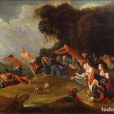 Arte: ÓLEO SOBRE TABLA CAMINO DEL CALVARIO ESCUELA FLAMENCA SIGLO XVII. Lote 77096045