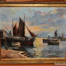 Arte: SANTILLAN. OLEO SOBRE TELA DE LOS AÑOS 60. VISTA DE UN PUERTO. Lote 77109901