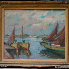Arte: JACINTO OLIVÉ, 1954. PAISAJE MARINO, ÓLEO SOBRE TELA 60X73 CM. MARCO: 79X92 CM.. Lote 77301405
