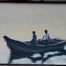 Arte: E. TORRENS, BARCA CON PERSONAJES, ACRÍLICO SOBRE LIENZO 80X60CM.. Lote 77311993
