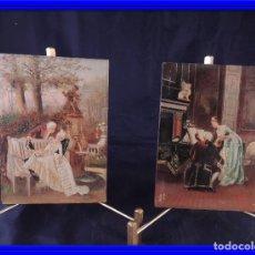 Arte: PAREJA DE TABLAS PINTADAS AL OLEO ANTIGUAS. Lote 77361465