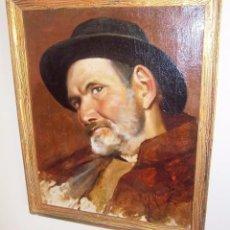 Arte: JOSÉ FERNÁNDEZ ALVARADO (MÁLAGA, 1865- HUELVA, 1935) -PERSONAJE CON CAPA Y SOMBRERO-. Lote 77408877