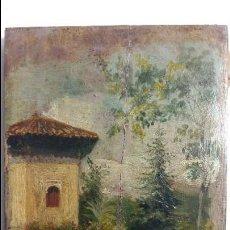 Arte: ILEGIBLE SIGLO XIX - XX , PAISAJE CON PERSONAJE , OLEO S / TABLA FDO. MED. 16 X10 CMS.. Lote 77439361