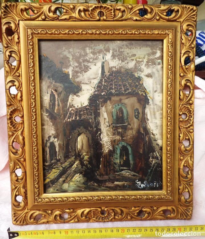 CUADRO OLEO SOBRE MADERA PUEBLO VIEJO FIRMADO (Arte - Pintura - Pintura al Óleo Moderna sin fecha definida)