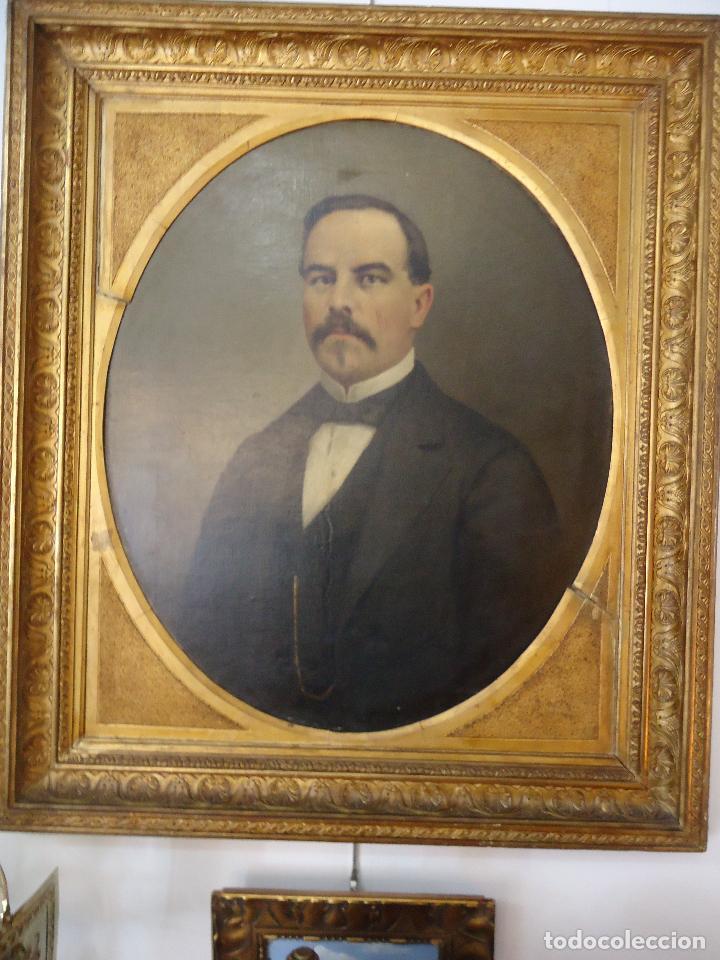 RETRATO DE CABALLERO PINTADO EN1878 POR EL ALICANTINO JOSÉ GONZALVEZ - PARAES - (Arte - Pintura - Pintura al Óleo Moderna siglo XIX)