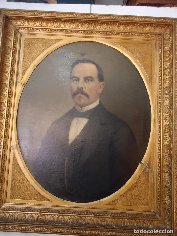 Arte: Retrato de Caballero Pintado en1878 por el alicantino José Gonzalvez - Paraes - - Foto 6 - 77854465