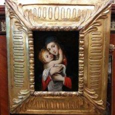 Arte: VIRGEN DE BELEN NIÑO JESUS, OLEO SOBRE TABLA SIGLO XVIII. MARCO DE EPOCA. MED. CON MARCO 43X49 CM.+. Lote 80119031