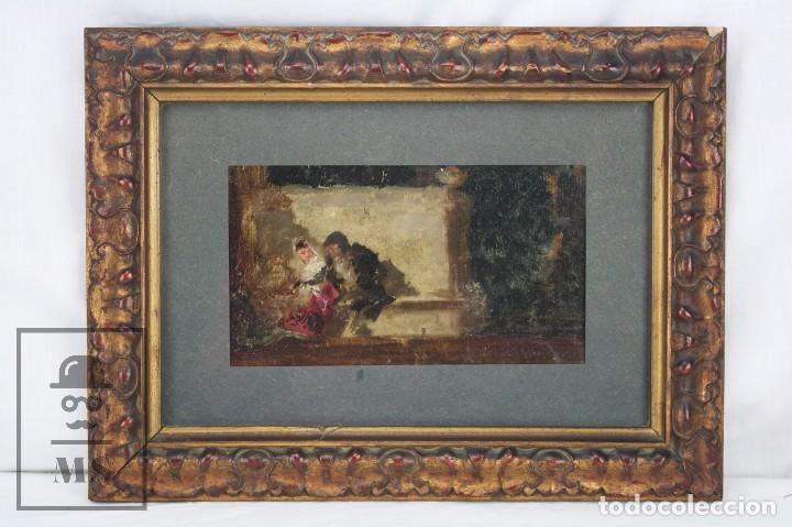 PINTURA AL ÓLEO SOBRE CARTÓN ENTELADO - ESCUELA GOYESCA / GOYA. PAREJA DE MAJOS - SIGLO XVIII (Arte - Pintura - Pintura al Óleo Antigua siglo XVIII)