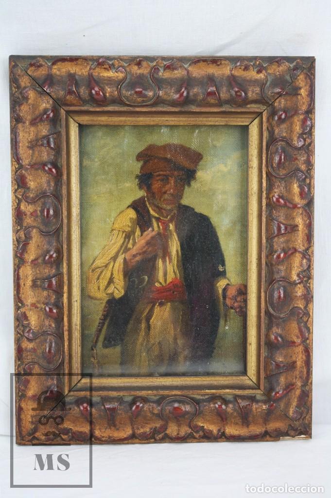 PINTURA AL ÓLEO SOBRE TABLA ENTELADA - RETRATO DE PAYÉS CATALÁN - ESCUELA ESPAÑOLA, SIGLO XVIII (Arte - Pintura - Pintura al Óleo Antigua siglo XVIII)