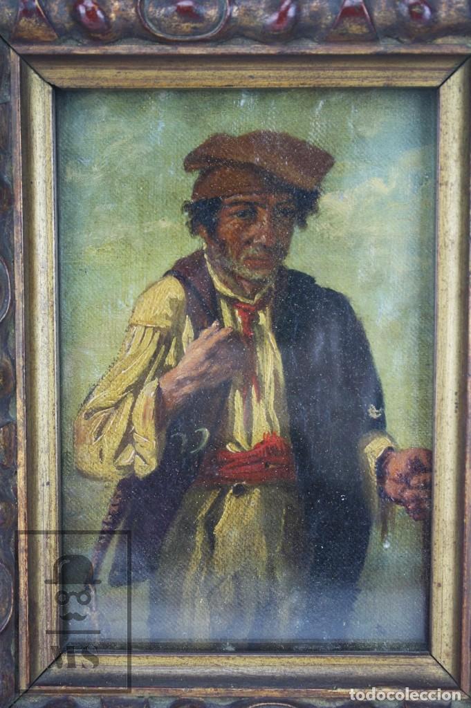 Arte: Pintura al Óleo Sobre Tabla Entelada - Retrato de Payés Catalán - Escuela Española, Siglo XVIII - Foto 2 - 77980981
