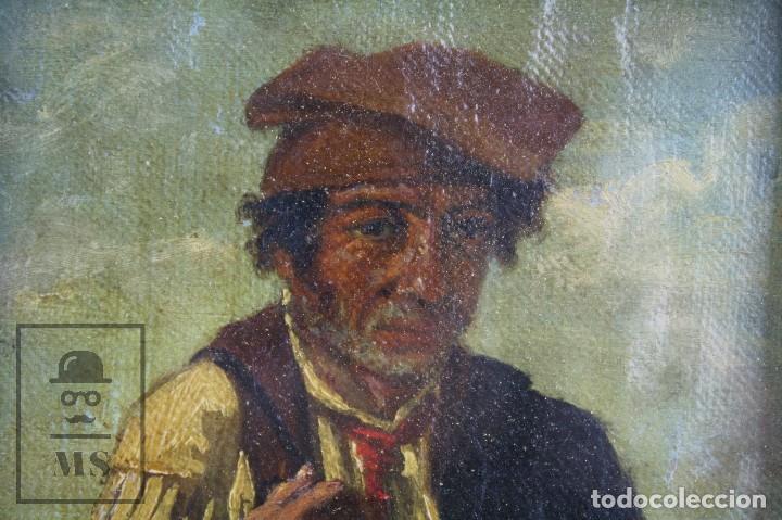 Arte: Pintura al Óleo Sobre Tabla Entelada - Retrato de Payés Catalán - Escuela Española, Siglo XVIII - Foto 3 - 77980981