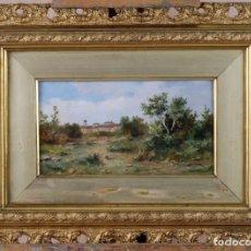 Arte: OLEO LIENZO PAISAJE CON PUEBLO ANDRÉS SANDOVAL HUERTAS FIRMADO PINTOR GRANADINO S XIX. Lote 78033289
