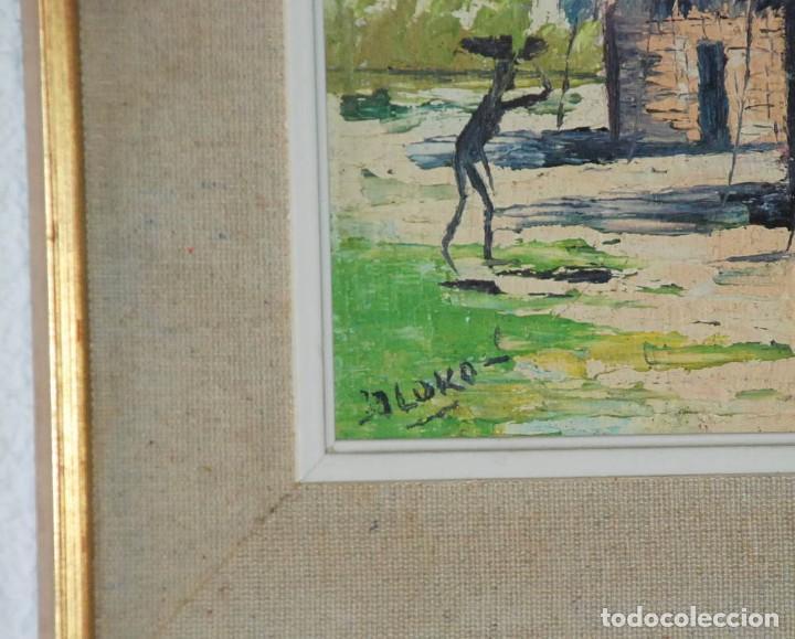 Arte: Cuadro Oleo sobre Tabla Poblado Africa Firmado J LUKO - Foto 2 - 78073561
