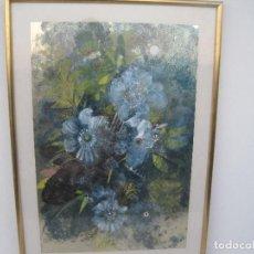 Arte: BODEGÓN DE FLORES. PAU FORNÉS 1975, TÉCNICA MIXTA SOBRE PAPEL PLATEADO, 63X42, CON MARCO 77X55. Lote 78165481