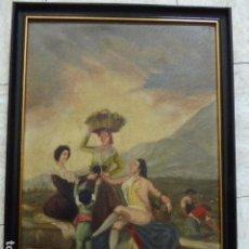 Arte - OLEO SOBRE LIENZO. COPIA DE LA VENDIMIA DE GOYA. FIRMA SIN IDENTIFICAR. 188?. - 111556407