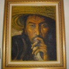 Arte: ANTIGUO OLEO SOBRE LIENZO , TITULO AZTECA, FIRMADO POR GOMEZ, CON MARCO 54X46 CM. Lote 78373217