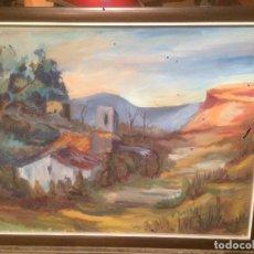 Arte: ANTIGUO CUADRO AL OLEO DE PAISAJE CON MARCO MADERA, FIRMADO POR EL PINTOR V. SOLER VICENTS MANRESA. Lote 78475909