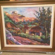 Arte: ANTIGUO CUADRO AL OLEO DE PAISAJE CON MARCO MADERA, FIRMADO POR EL PINTOR V. SOLER VICENTS MANRESA. Lote 78476249