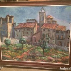 Arte: ANTIGUO CUADRO AL OLEO DE PAISAJE CON MARCO MADERA , FIRMADO POR EL PINTOR V. SOLER VICENTS MANRESA. Lote 78476645