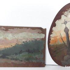 Arte: PAREJA DE PAISAJES. ÓLEO SOBRE TABLA. D.MACRI. ESPAÑA(?). SIGLO XIX.. Lote 78836677