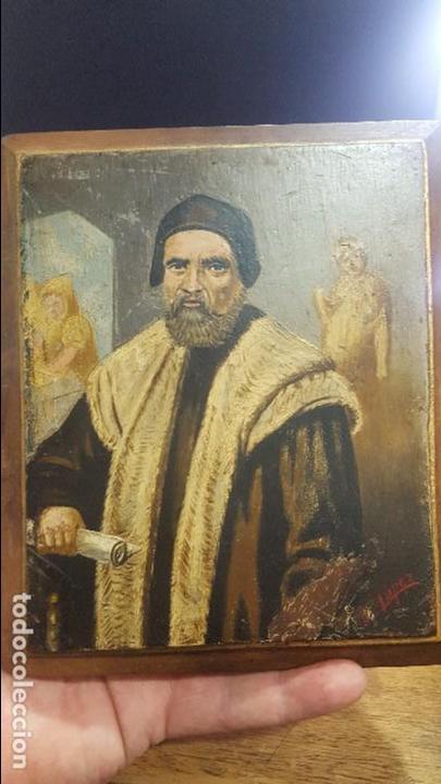 PINTURA OLEO SOBRE TABLA FINALES DEL SIGLO XIX FIRMADO LOPEZ (Arte - Pintura - Pintura al Óleo Antigua sin fecha definida)