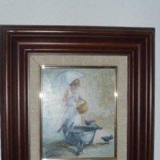 Arte: PINTURA NIÑA CON PALOMAS. FIRMA DEL PINTOR ILEGIBLE. Lote 79100509