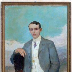 Arte: OLEO SOBRE LIENZO RETRATO CABALLERO FIRMADO VICENTE BAÑULS ARACIL (1866 - 1935) PP S XX. Lote 79261553