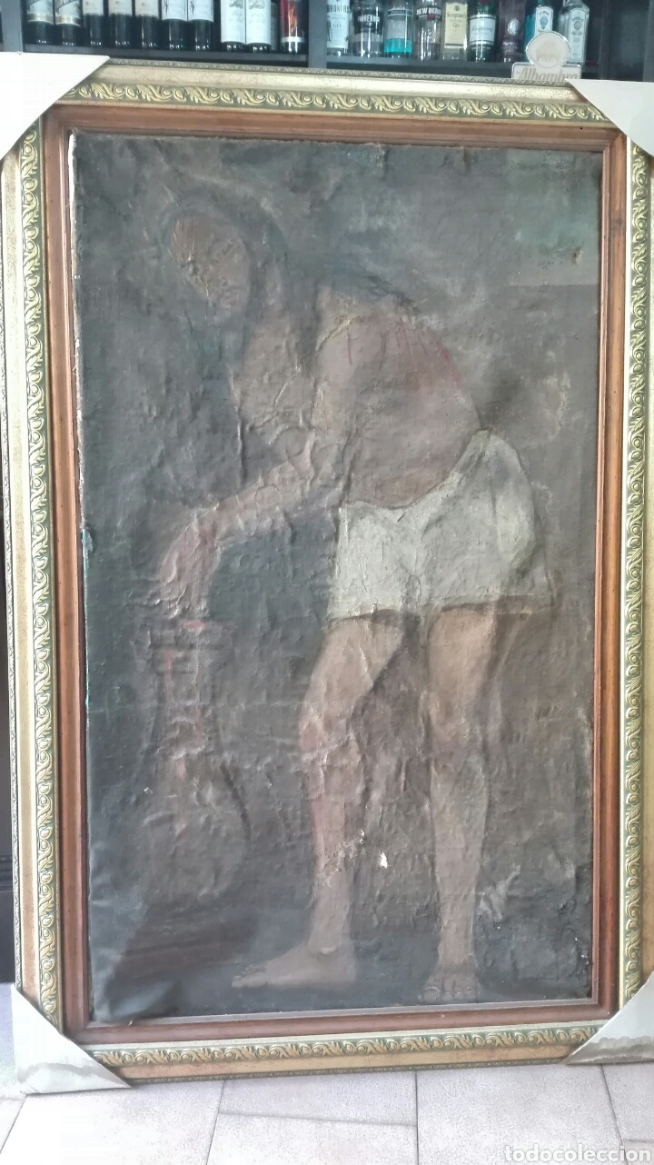 CRISTO DE LA COLUMNA SIGLO XVI (Arte - Pintura - Pintura al Óleo Antigua siglo XVI)